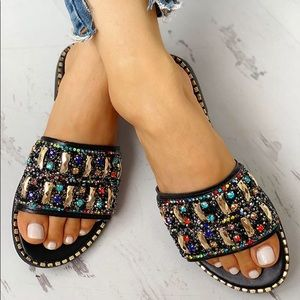 Shoes - Studded Sequins Sandals